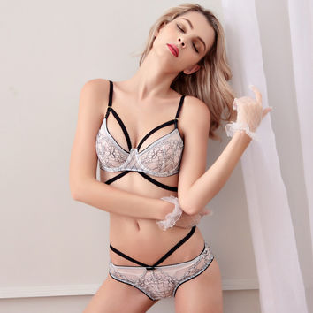 Free Shipping Fashion transparent sexy bra set plus size Women gauze embroidery ultra-thin white underwear
