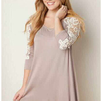 Round-neck Lace Long Sleeve Irregular Classics One Piece Dress [6339066433]
