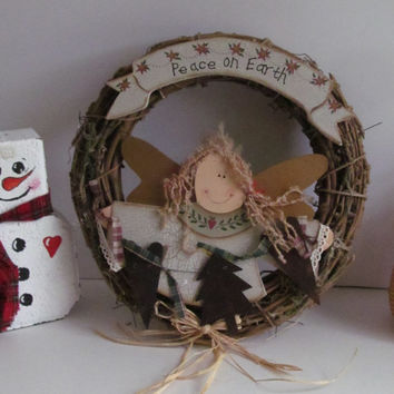 Prim Angel Garland Wreath Primitive Christmas Wreath Grapevine Prim Rusty  Country Primitve Rustic Decor Wall Hanging