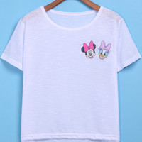 White Short Sleeve Cartoon Character Print Dip Hem T-Shirt