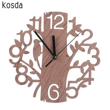 Large Hand Carved #D Wooden Tree and Bird Clock