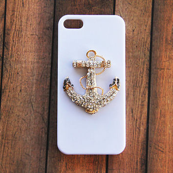 White iPhone 5c Case iPhone 4 4s Unique Cases Anchor Phone Case Covers Stylish Gold Studded Bling Crystal iPhone 4 4s Galaxy S3 S4 S5 White