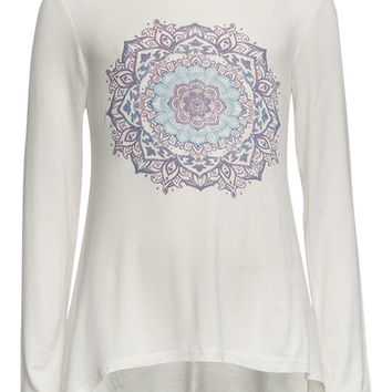 Full Tilt Mandala Girls Sharkbite Tee Cream  In Sizes