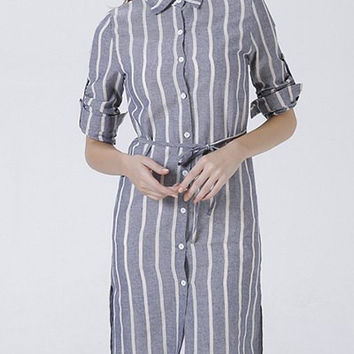 Button Design Striped Furcal Dress