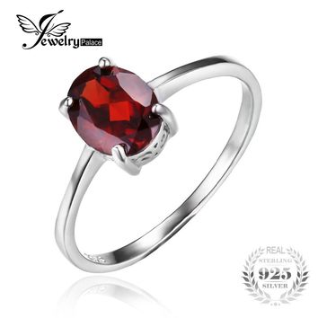 JewelryPalace Promotion 1.7ct Oval Natural Red Garnet Solitaire Ring Genuine 925 Sterling Silver Engagements Wedding Bands Ring