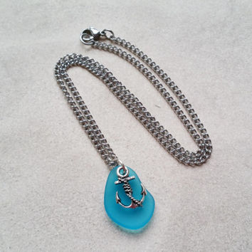 Anchor Necklace, Nautical Necklace, Teal Sea Glass Necklace, Sailing Jewelry, Rockabilly Necklace, Recycled Glass Anchor Jewelry