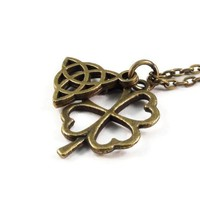 Triquetra Four Leaf Clover Necklace, Celtic Knot Necklace
