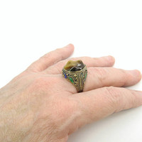 Tigers Eye Ring Chinese Export Enamel Sterling Silver Gold Vermeil Filigree Irregular Oval Gemstone Vintage 1920s Art Deco Asian Jewelry