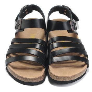 Birkenstock Leather Cork Flats Shoes Women Casual Sandals Shoes Soft Footbed Slippers