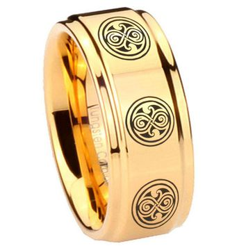 8MM Glossy Gold Step Edges Multiple Doctor Who Tungsten Carbide Laser Engraved Ring