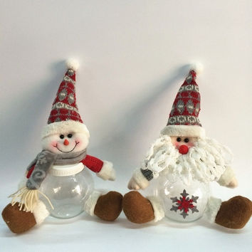 Table Ornament Snowman/  Deer/ Cute Santa Claus Design Indoor Christmas Standing Decoration Supplies (Color: White) = 1741688068