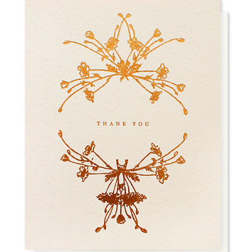 botanical wreath thank you card