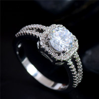 Free Shipping 925 sterling silver Clear CZ Zirconia Fashion Jewelry Wedding Ring Size 5 6 7 8 9 10