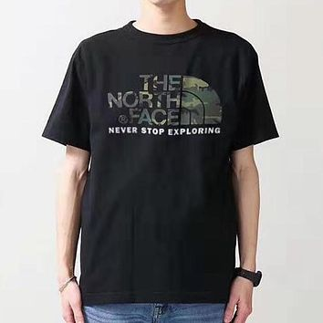 The North Face Fashion Men Women Leisure Camouflage Print Short Sleeve T-Shirt Top Black