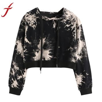 Hooded Pullover Sweatshirt Splatter Print Long Sleeve Crop Tops