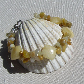 "Crystal Gemstone Bracelet, Honey Quartz & Yellow Jade  ""Harvest Sun"""