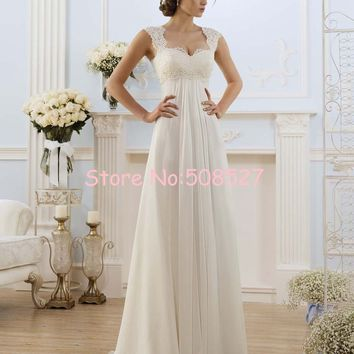 Robe De Mariage Stock US Size 2-22 White/Ivory Appliques Chiffon Lace A-Line Wedding Dress Bridal Gowns Vestido De Noiva