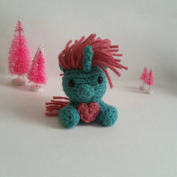Mini Amigurumi Unicorn Plush Stuffed Animal Mini Kawaii Chibi Gift Toy Collectible Room Decor