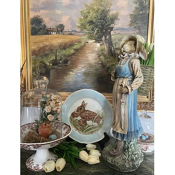 Vintage Hand Painted Signed Bavarian Woodland Momma and baby Rabbits Plate