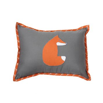 Bacati - Playful Fox Orange/Grey Dec Pillow 12 x 16 inches with removable 100% Cotton cover and polyfilled pillow insert Standard