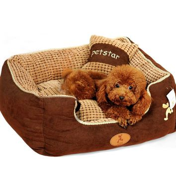Puppy pet dog bed warming dog house soft materialfa bric sofa warm winter for dog pet products give a pillow