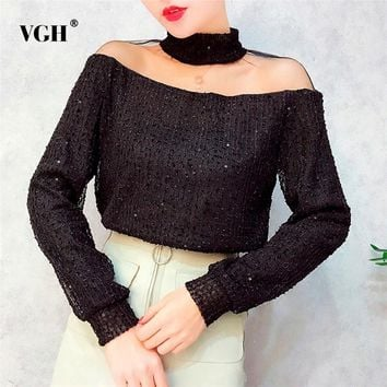 VGH Sexy Off Shoulder Women's Blouse Sequined Stand Collar Mesh Patchwork Female Shirt Long Sleeve Top Sexy Clothes 2018 New