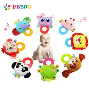 1pc Baby Silicone Teethers With Rattle Cartoon Doll Plush Toys Food Grade Teethers Children Hanging Toys