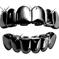 Hip Hop Platinum Black Tone Removeable Mouth Grillz Set (Top & Bottom) Gun Metal