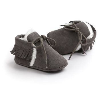 ROMIRUS 6Colors Newborn Baby Girl Boy Kids First Walkers Fringe Winter Snow Boots Shoes Crib Babe Soft Soled Children Shoe