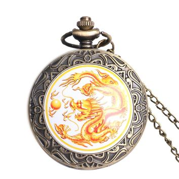 Men's Pocket Watch, Golden Chinese Dragon Fly Design Pocket Watch, Necklace Gift for Men