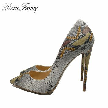 DorisFanny grey snake printed sexy high heels 2017 new party shoes pointed toe women pumps