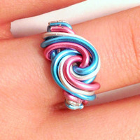 Transgender Pride Wire Wrapped Ring - Custom, Sizes 4-15, Handmade, Aluminum, Silver, Pink, Blue, Swirl, Spiral, Trans, LGBT, Statement Ring