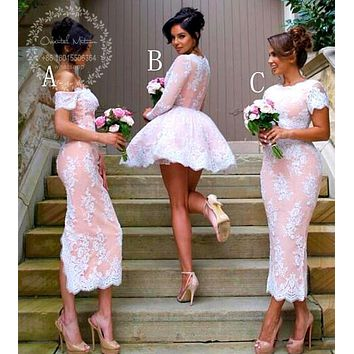Modest Bridesmaid Dresses with Sleeves White Lace Appliques Beaded V Neck Short Wedding Party Gowns Coral Maid of Honor Dress