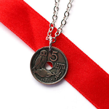 Greek Owl Coin Necklace,1912 Greece Pendant 10 Lepta Eco-Friendly Jewelry by Hendywood
