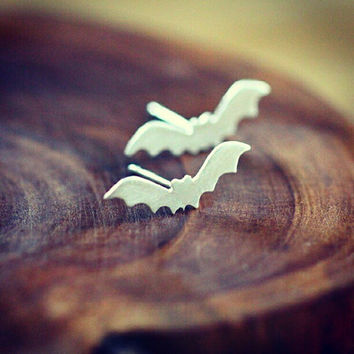Halloween jewelry - bat jewelry - bat earrings - spooky earrings - sterling silver - goth