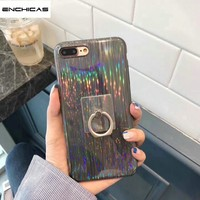 ENCHICAS Fashion Girls Holographic Iridescent Laser Soft Silicon TPU Case for iPhone X 8 7 6 S Plus Cover with Finger Ring Stand