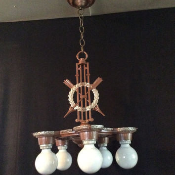Antique Vintage Art Deco Markel 5 Light Chandelier Wreath Arrows and Stars 1930s  Early American