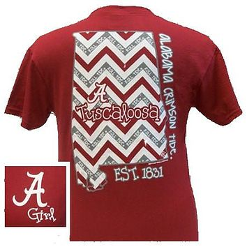 New Alabama Crimson Tide Chevron State Bright T Shirt
