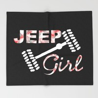 Jeep Girl Camo Throw Blanket by UMe Images