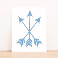 Arrows Blue Print PRINTABLE ART Dorm Decor Apartment Art Bathroom Art