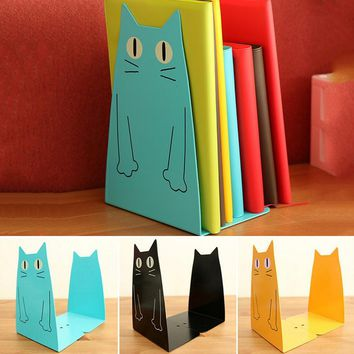 2PCS/1Pair Cute Cartoon Cat Bookend Home Office Book Holder Shelf Accessory For Students Office  Metal Bookends Iron Cute Animal