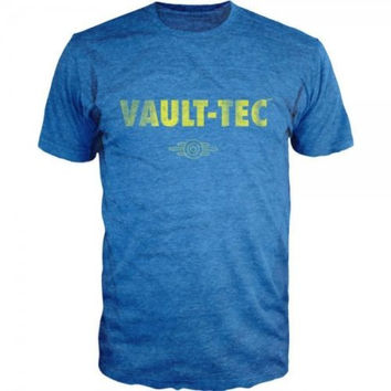 Officially Licensed  Details about  Fallout Vault-Tec Logo Bethesda Video Games Licensed Adult T-Shirt - Blue