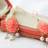 Coral and pearl earrings. Coral chandelier earrings