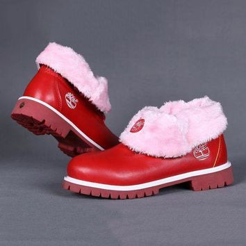 Timberland Rhubarb boots for Women Fashion Thick Lace-Up Waterproof Leather Boots Shoes Red G