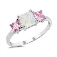 Sterling Silver Opal and Pink CZ Ring