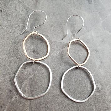 Hammered Silver and Gold Hoop Earrings