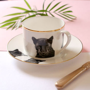 Peering Panther Illustrated Tea Cup And Saucer