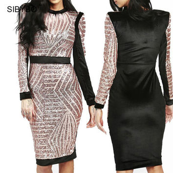 2016 Fashion Summer Women Dress Sexy Long Sleeve Black Metal Sequin Night Club Bodycon Party Dresses Red Bandage Dresses