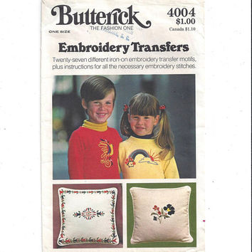 Butterick 4004 Pattern for 27 Hot Iron Embroidery Transfers, From 1970s, Christmas, Borders, Animals, Vintage Pattern, Home Embroidery
