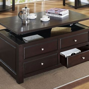 Acme 80257 Malden espresso finish wood lift top coffee table with storage drawers and storage underneath top